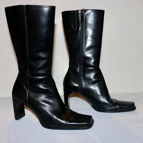 Enzo Angiolini Leather Square Toe Boots